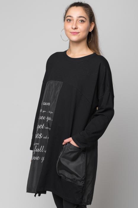 Rochie neagra scurta/midi din 2 materiale cu fas imprimat 0