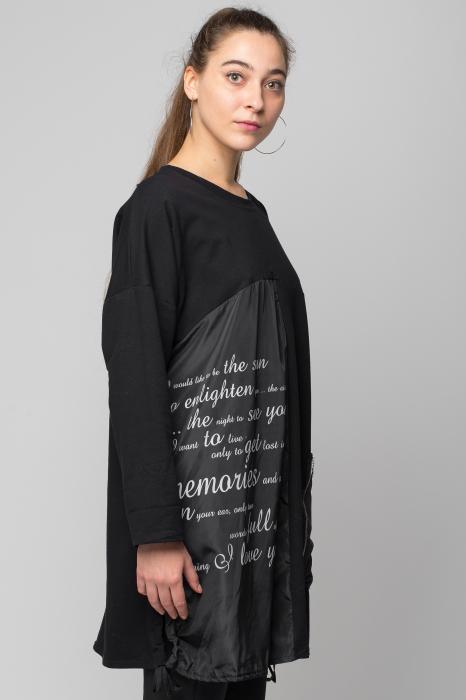 Rochie neagra scurta/midi din 2 materiale cu fas imprimat 1