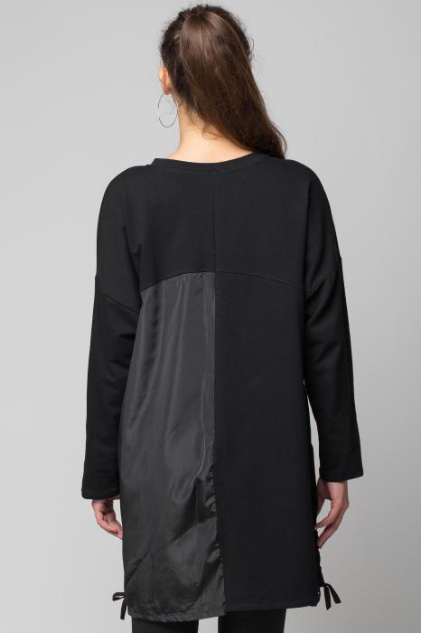 Rochie neagra scurta/midi din 2 materiale cu fas imprimat 2
