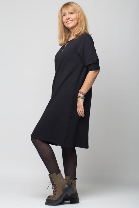 Rochie neagra VIP din tricot cu accesorii aplicate [1]