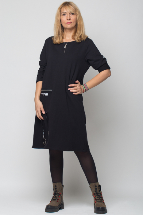 Rochie neagra VIP din tricot cu accesorii aplicate [0]