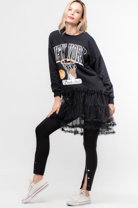 Rochie pentru colanti cu imprimeu basket si tull [0]