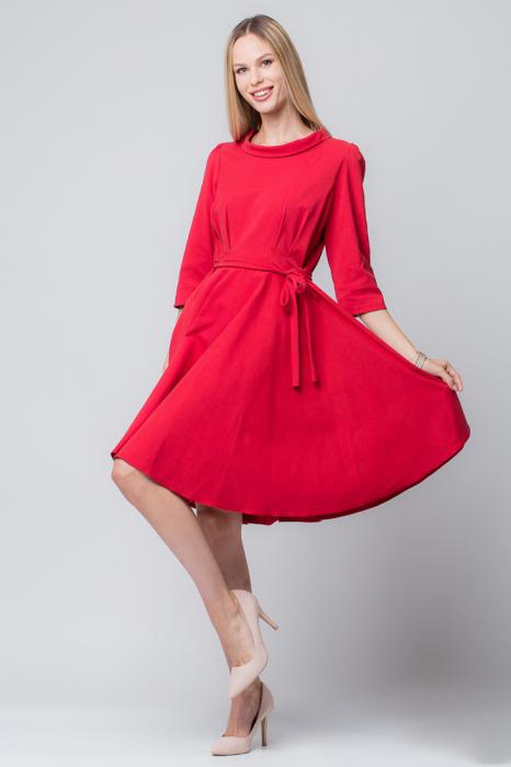 Rochie rosie, eleganta - casual, taiata in talie, clos [0]