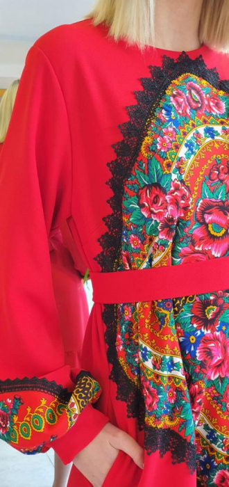 Rochie rosie lunga cu insertie gipsy [1]