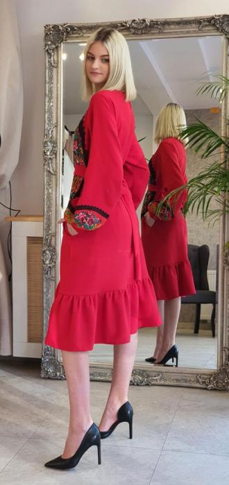 Rochie rosie lunga cu insertie gipsy [0]
