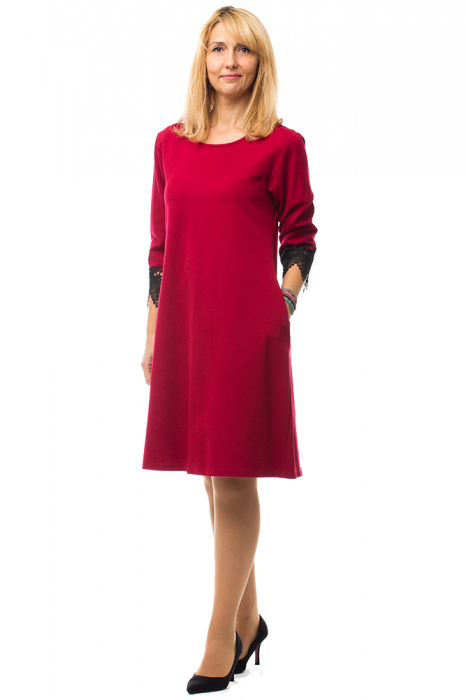 Rochie rosie office din tricot plin 0