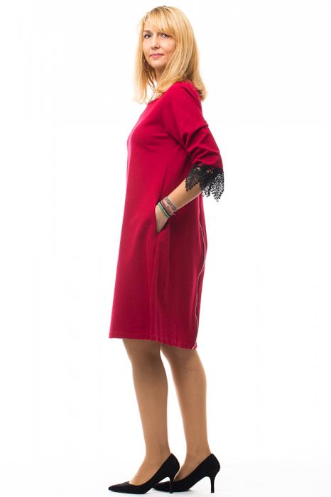 Rochie rosie office din tricot plin 1
