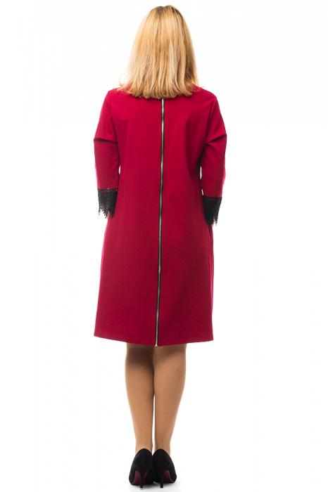 Rochie rosie office din tricot plin 2