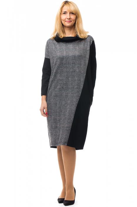 Rochie stofa ecosez si tricot negru cu guler inalt [0]