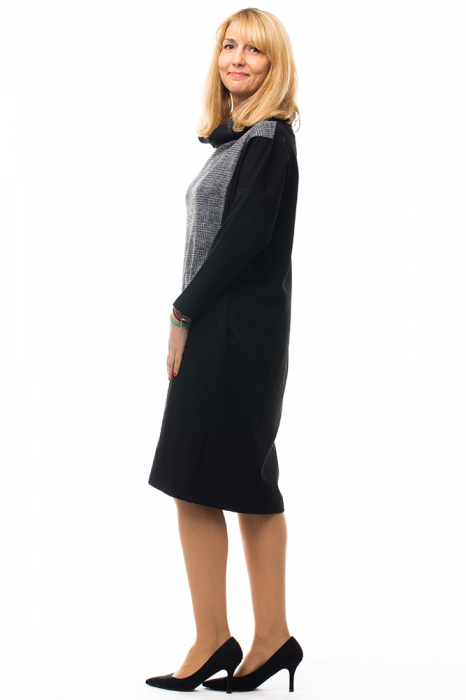 Rochie stofa ecosez si tricot negru cu guler inalt [1]