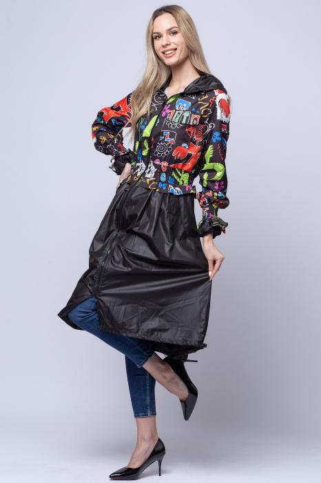Rochie tip jacheta midi fantezista din tafta, cu gluga si imprimeu colorat 2