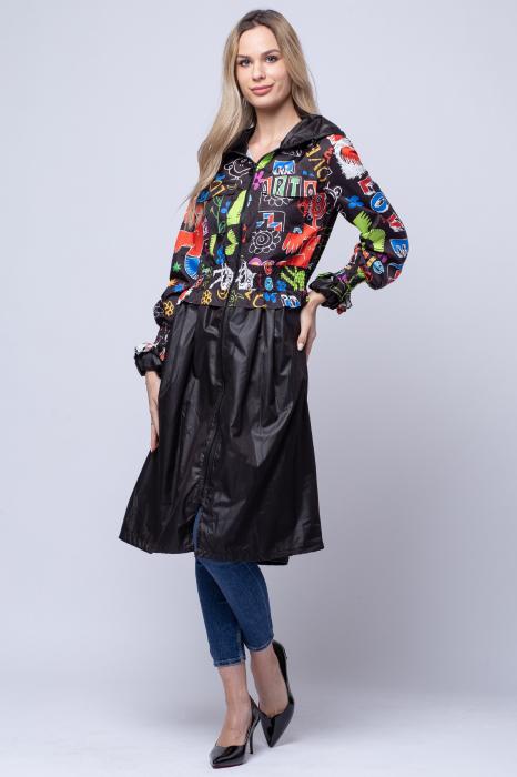Rochie tip jacheta midi fantezista din tafta, cu gluga si imprimeu colorat 1