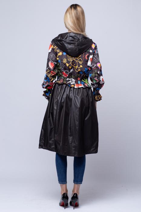 Rochie tip jacheta midi fantezista din tafta, cu gluga si imprimeu colorat 3