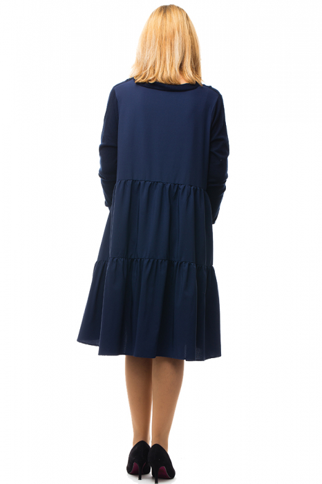Rochie tricotata bleumarin oversize din doua materiale 2
