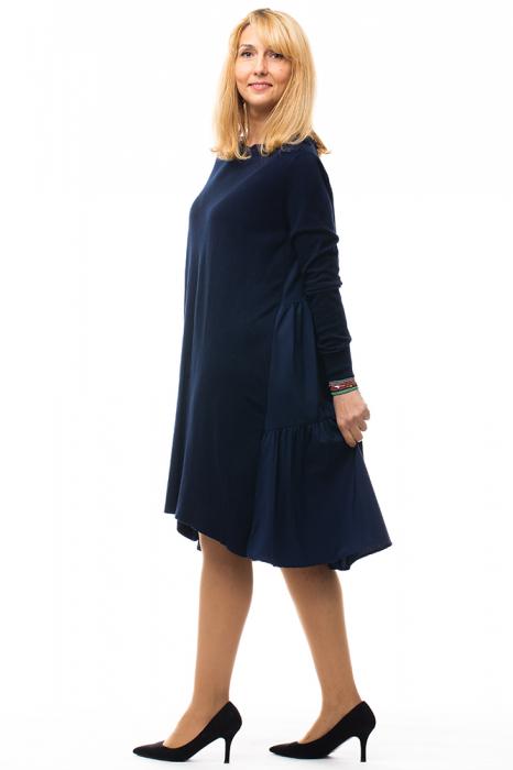 Rochie tricotata bleumarin oversize din doua materiale 1
