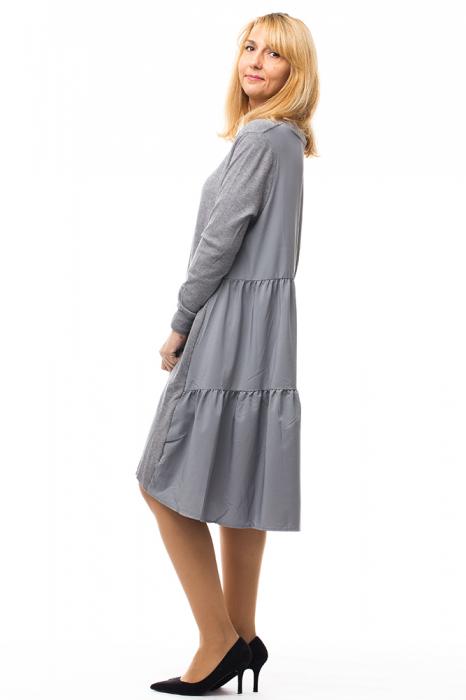Rochie tricotata gri oversize din doua materiale 1