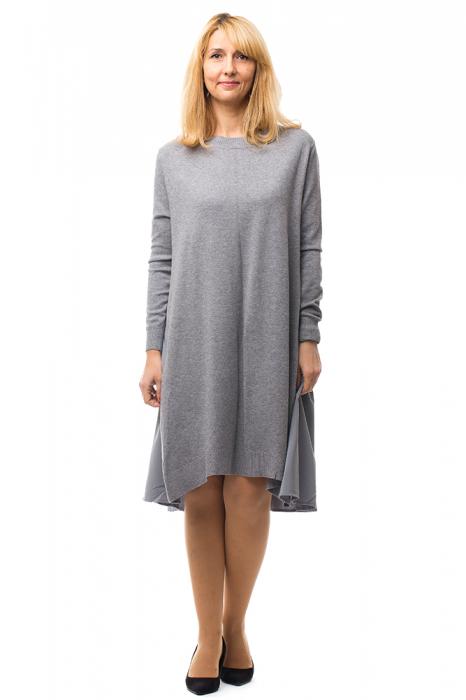 Rochie tricotata gri oversize din doua materiale 0