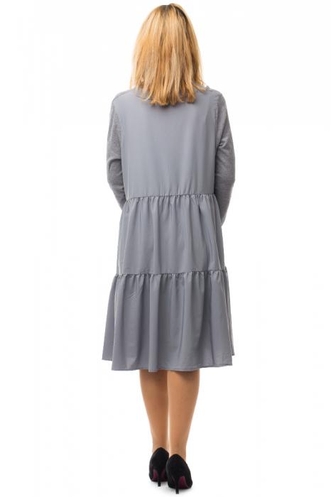 Rochie tricotata gri oversize din doua materiale 2