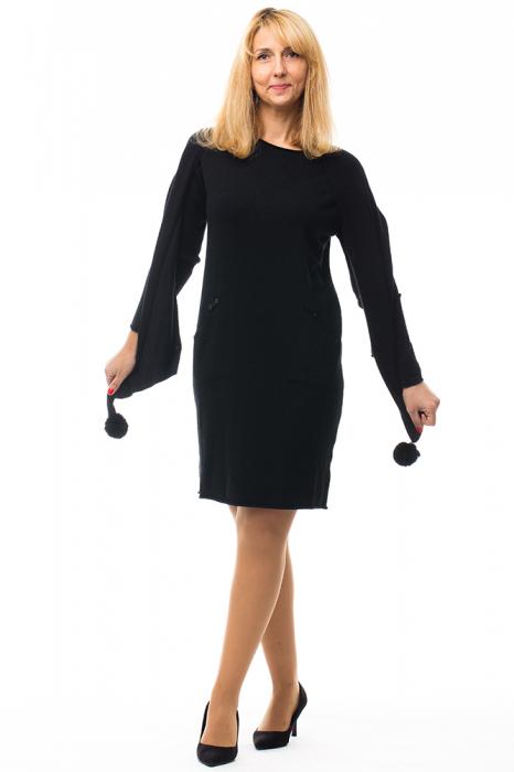 Rochie tricotata neagra midi cu esarfa 0