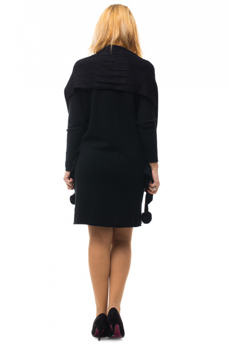 Rochie tricotata neagra midi cu esarfa 2