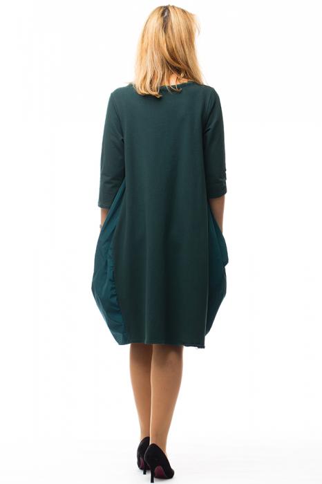 Rochie verde gogosar din tricot si tafta cu buzunare 2