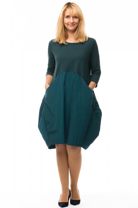 Rochie verde gogosar din tricot si tafta cu buzunare 3
