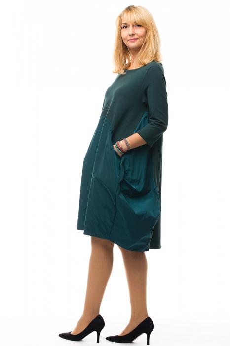 Rochie verde gogosar din tricot si tafta cu buzunare 1