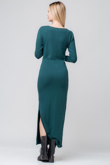 Rochie verde lunga tricotata 2