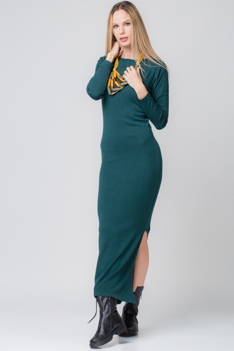 Rochie verde lunga tricotata 1
