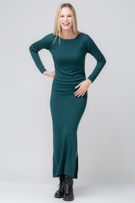 Rochie verde lunga tricotata 0
