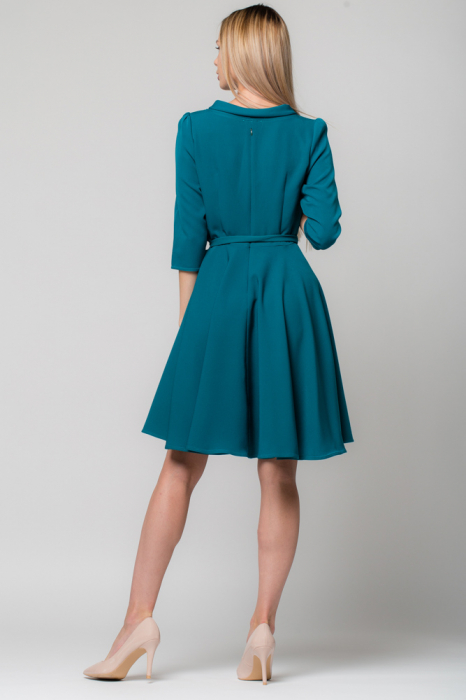 Rochie verde - turcoaz, eleganta - casual, taiata in talie, clos [2]
