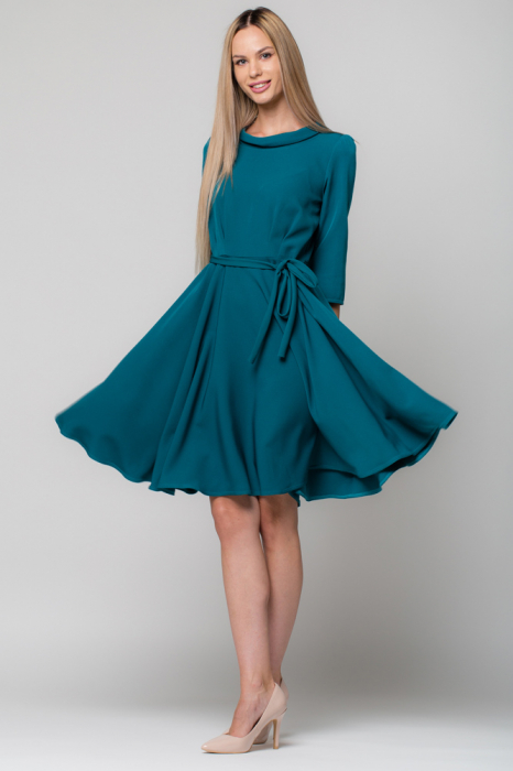 Rochie verde - turcoaz, eleganta - casual, taiata in talie, clos [0]