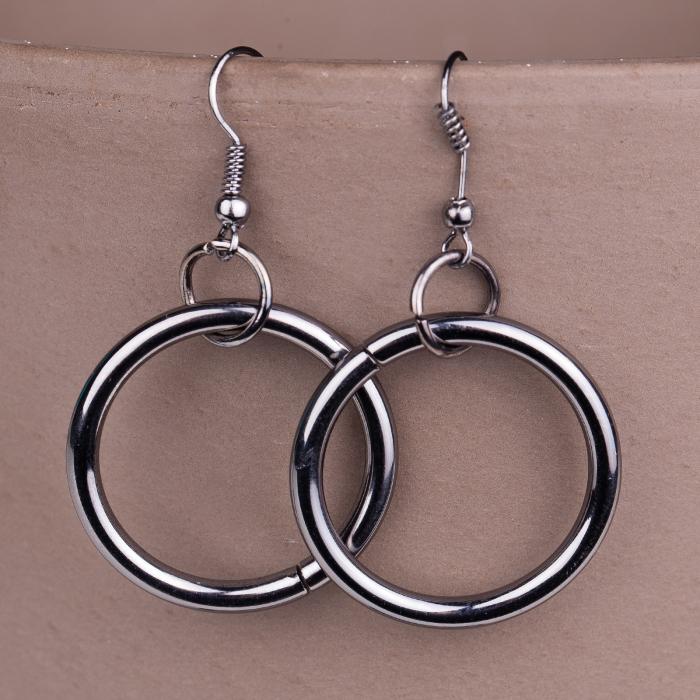 Set cercei si colier argintiu inchis, lung, cu pandantiv metalic lant, ac de siguranta si cerc 2
