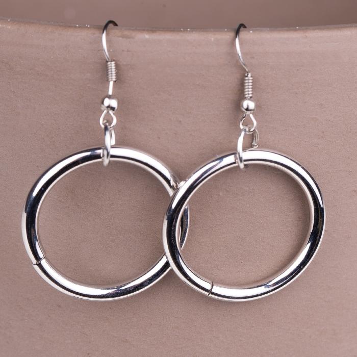 Set cercei si colier lung cu pandantiv metalic rotund, argintiu [2]