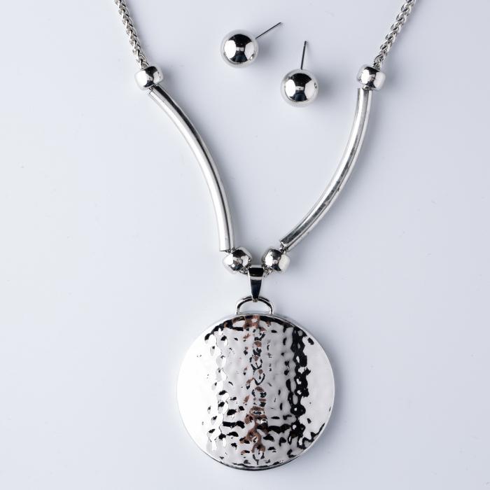 Set cercei si lant argintiu,lung, cu pandantiv rotund cu aspect lovitura de ciocan [0]
