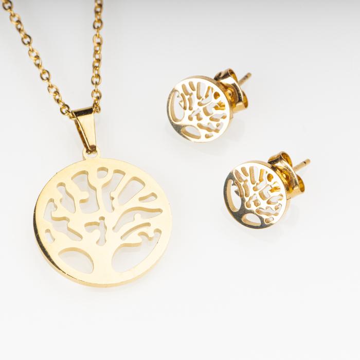 Set metalic auriu format din colier si cercei cu forma copacul vietii [0]