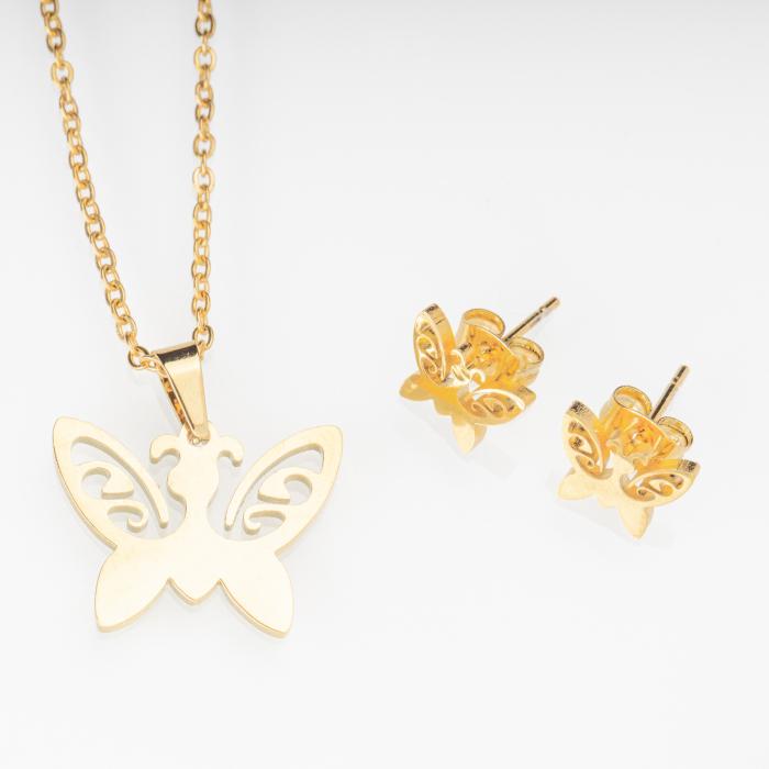 Set metalic auriu format din colier si cercei cu forma fluture [0]