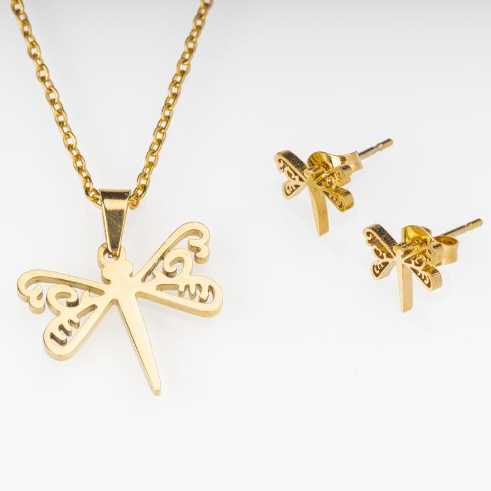Set metalic auriu format din colier si cercei cu forma libelula [0]