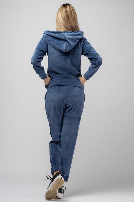 Trening dama doua piese din catifea de bumbac,cu banda elastica, albastru jeans [2]