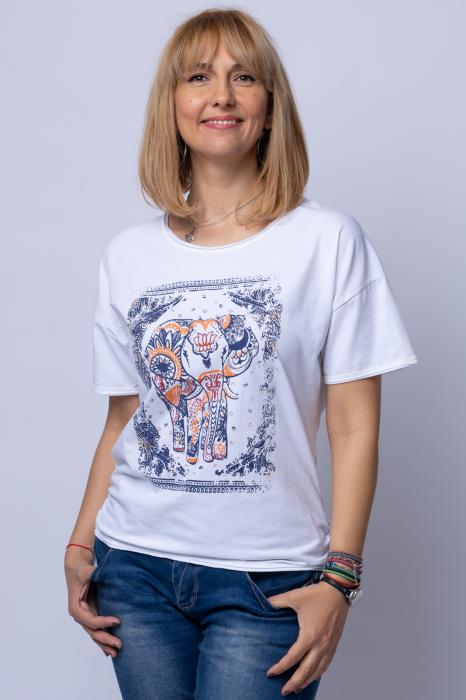 Tricou alb cu imprimeu elefant, din bumbac [0]