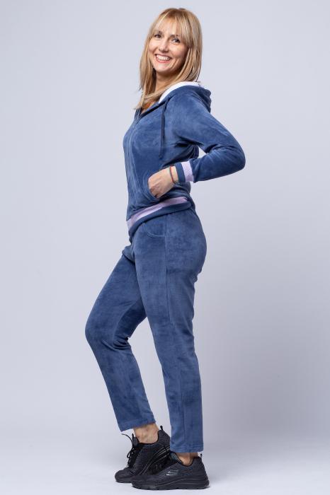 Trening dama doua piese din catifea de bumbac, albastru jeans cu banda lila 1