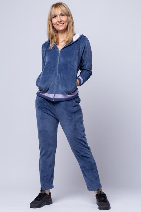 Trening dama doua piese din catifea de bumbac, albastru jeans cu banda lila 0