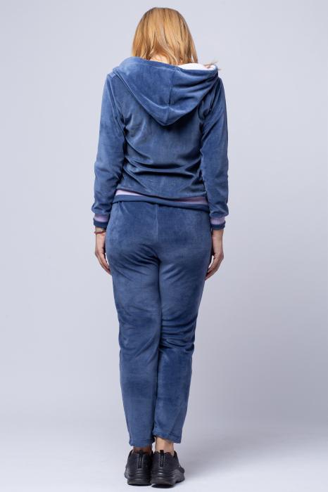 Trening dama doua piese din catifea de bumbac, albastru jeans cu banda lila 2