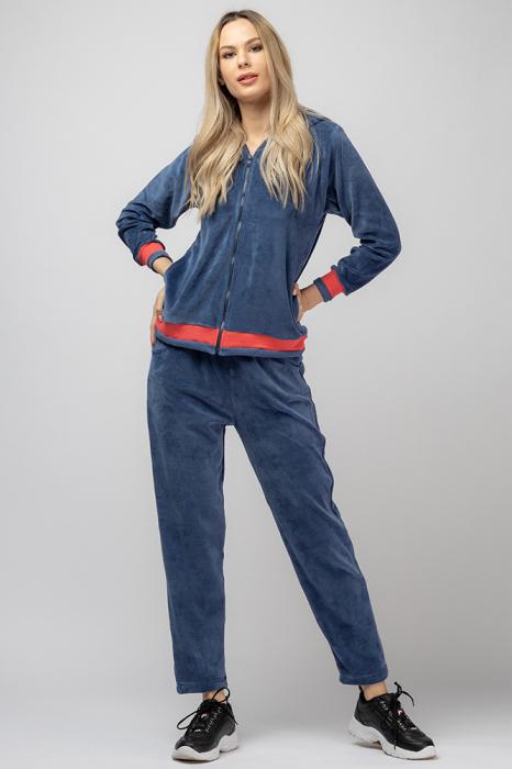 Trening dama doua piese din catifea de bumbac, albastru jeans, cu banda corai 0