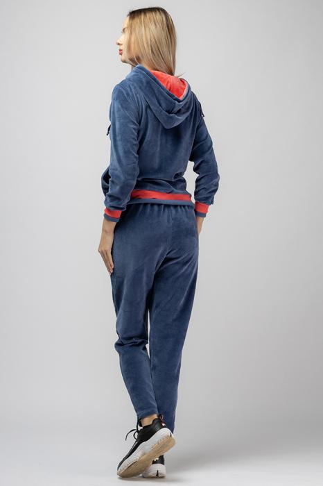 Trening dama doua piese din catifea de bumbac, albastru jeans, cu banda corai 2