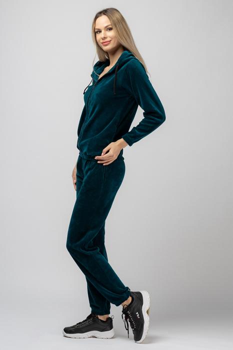 Trening dama doua piese din catifea de bumbac,cu banda elastica, turquoise 1