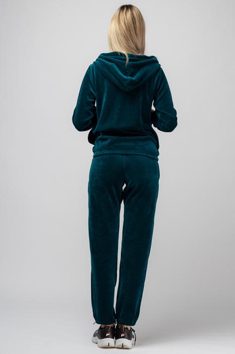 Trening dama doua piese din catifea de bumbac,cu banda elastica, turquoise 2