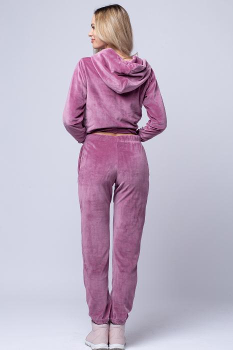 Trening dama doua piese din catifea de bumbac, roz [2]