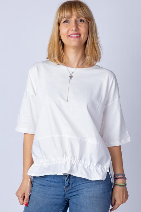 Tricou alb oversize cu siret reglabil, din bumbac [0]
