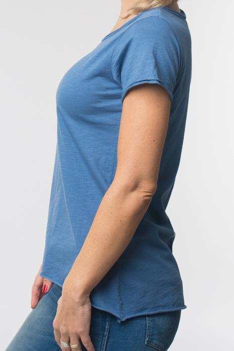Tricou albastru din bumbac cu maneca scurta 1